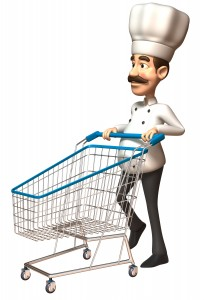טבח מחפשים מוצרים לבישול